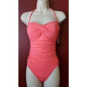 LA BLANCA Twist Front 1 pc Swimsuit Sz 6 Coral